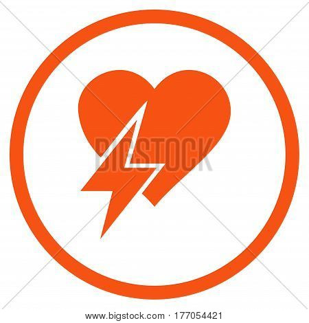 Heart Shock rounded icon. Vector illustration style is flat iconic symbol inside circle, orange color, white background.