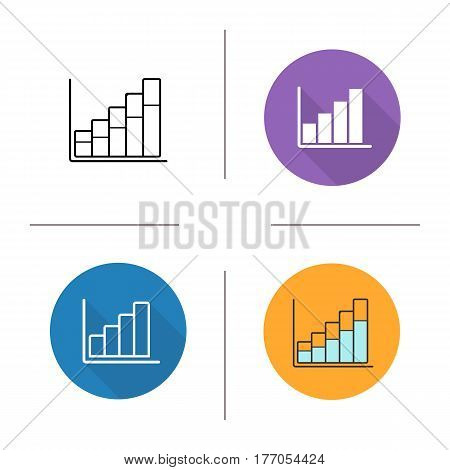 Growth chart icon. Flat design, linear and color styles. Diagram. Business statistics graph. Isolated vector illustrations