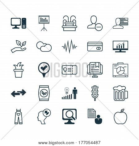 Set Of 25 Universal Editable Icons. Can Be Used For Web, Mobile And App Design. Includes Elements Such As Plastic Card, Desktop Computer, Nectarine And More.