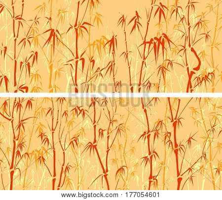 Set of horizontal wide banners with many bamboos tree in orange tone.