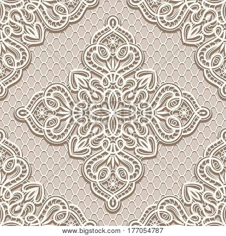 Vintage lace ornament, elegant tulle texture, swirly seamless pattern