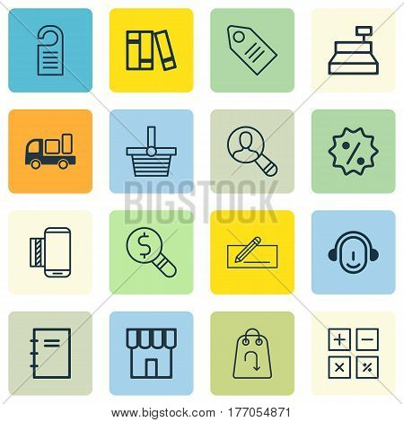 Set Of 16 Ecommerce Icons. Includes Shop, Business Inspection, Spiral Notebook And Other Symbols. Beautiful Design Elements.
