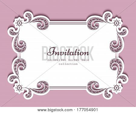 Rectangle frame with cutout paper lace border, suitable for laser cutting or wood carving, greeting card or wedding invitation design