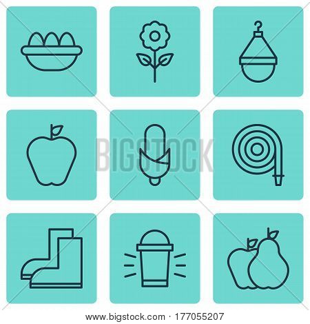 Set Of 9 Agriculture Icons. Includes Fire Tube, Hanger, Decorative Plant And Other Symbols. Beautiful Design Elements.