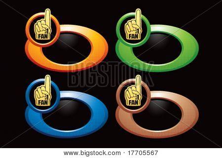 fan hand on multicolored rings