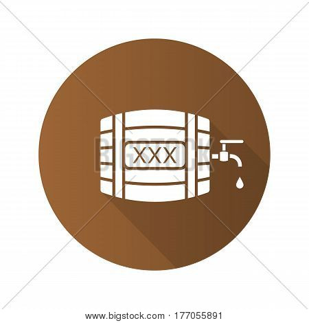 Alcohol wooden barrel. Flat design long shadow icon. Whiskey or rum barrel with tap, drop and xxx sign. Vector silhouette symbol