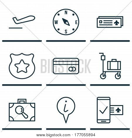 Set Of 9 Travel Icons. Includes Plastic Card, Phone Reservation, Airliner Takeoff And Other Symbols. Beautiful Design Elements.