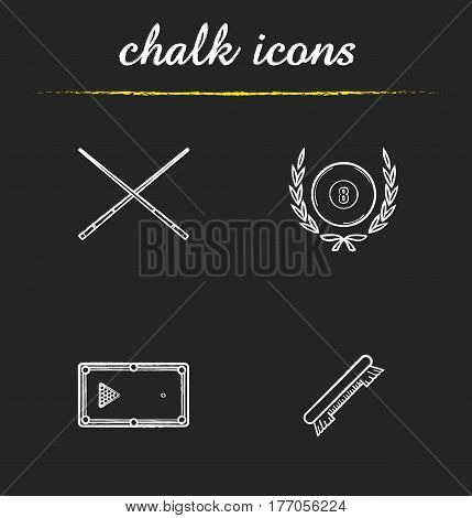 Billiard championship chalk icons set. Cuesports equipment. Billiard brush, table with balls rack, crossed cues and eight ball in laurel wreath. Isolated vector chalkboard illustrations