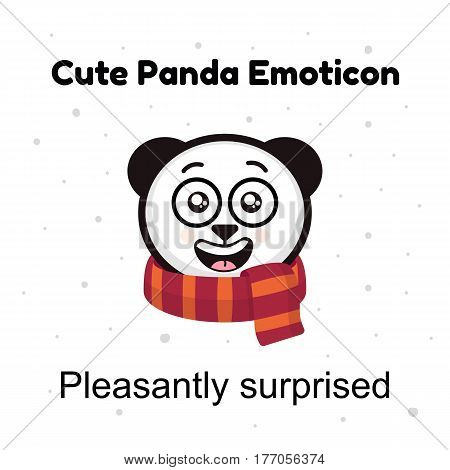 Panda emoji illustrations isolated on white background. Emoji character cartoon Panda stickers emoticons with pleasantly surprised emotion for site, info graphic, video, animation, websites, e-mails, newsletters, report, comic