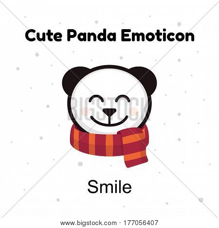 Cute cartoon head baby panda bear smiles on a white background. Panda emoji illustrations isolated. Emoji character cartoon Panda stickers emoticons with happy smile emotion for site, info graphic, video, animation, websites, e-mails, newsletters, report,