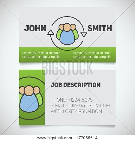 Business card print template with staff turnover logo. Manager. HR manager. Recruiting aggency. Stationery design concept. Vector illustration