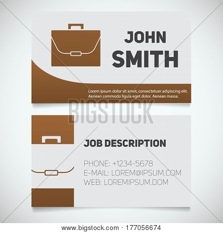 Business card print template with briefcase logo. Manager. Businessman. Lawyer. Stationery design concept. Vector illustration