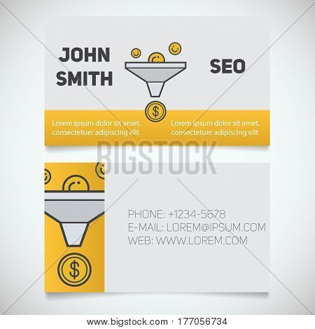 Business card print template with sales funnel logo. Marketer. Seo manager. Stationery design concept. Vector illustration