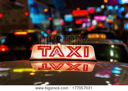Taxi Sign Of A Hongkong Taxi At Night