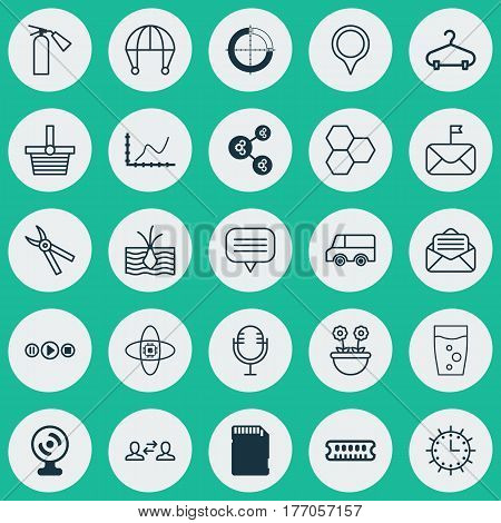 Set Of 25 Universal Editable Icons. Can Be Used For Web, Mobile And App Design. Includes Elements Such As Marker, Sun Clock, Achievement Graph And More.