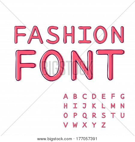 Pink alphabet collection sweet font fashion hand drawn style