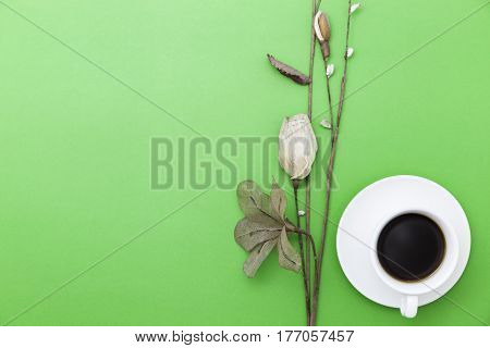 coffee cup with paper flower on green paper background