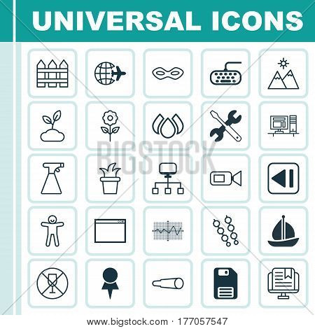 Set Of 25 Universal Editable Icons. Can Be Used For Web, Mobile And App Design. Includes Elements Such As Crooked Pointed Line, Video Camcorder, Barrier And More.
