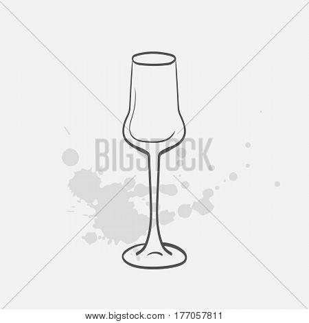 grappa glass hand drawn icon - vector illustration