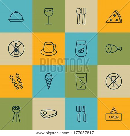 Set Of 16 Restaurant Icons. Includes Cutlery, Steak, Stick Batbecue And Other Symbols. Beautiful Design Elements.
