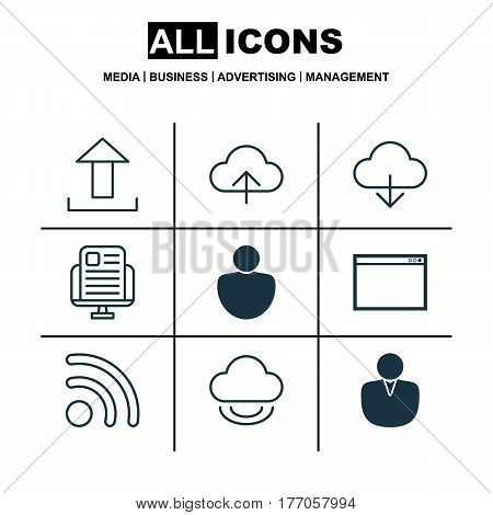 Set Of 9 Web Icons. Includes Data Synchronize, Account, Program And Other Symbols. Beautiful Design Elements.