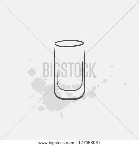 shot glass hand drawn icon - vector illustration