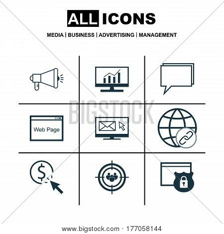 Set Of 9 SEO Icons. Includes Media Campaign, Newsletter, Security And Other Symbols. Beautiful Design Elements.