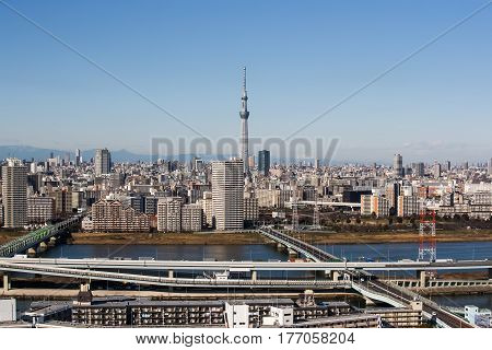 TOKYO - JAN 11 2017 : View of Tokyo Sky Tree (634m) the highest free-standing structure in Japan and 2nd in the world with over 10 million visitors each year on JAN 11 2017 in Tokyo Japan.