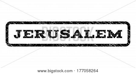 Jerusalem watermark stamp. Text caption inside rounded rectangle with grunge design style. Rubber seal stamp with scratched texture. Vector black ink imprint on a white background.