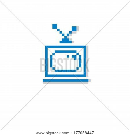 Vector Pixel Icon Isolated, 8Bit Graphic Element. Simplistic Tv Set Sign, Television And Media Idea.