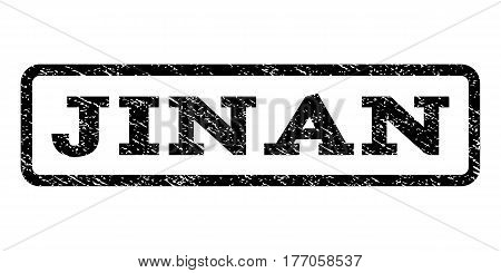 Jinan watermark stamp. Text tag inside rounded rectangle frame with grunge design style. Rubber seal stamp with dust texture. Vector black ink imprint on a white background.