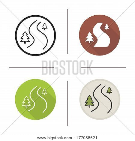 Winding country road icon. Flat design, linear and color styles. Forest path with fir trees. Isolated vector illustrations
