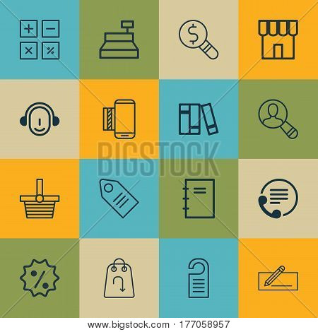 Set Of 16 Commerce Icons. Includes Money Transfer, Spiral Notebook, Pannier And Other Symbols. Beautiful Design Elements.