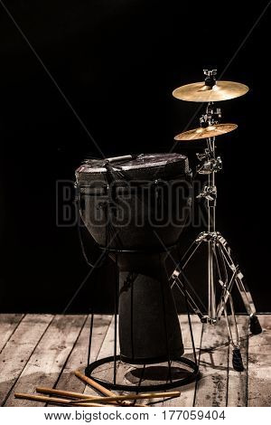 Musical Percussion Instruments On Black Background