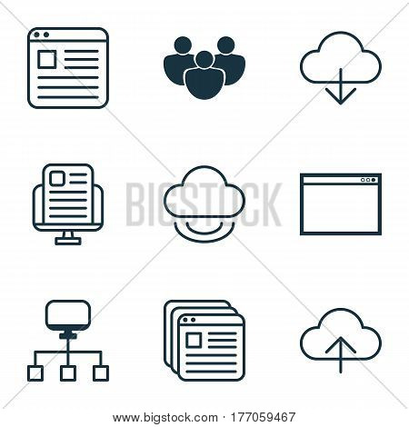 Set Of 9 Online Connection Icons. Includes Virtual Storage, Local Connection, Data Synchronize And Other Symbols. Beautiful Design Elements.