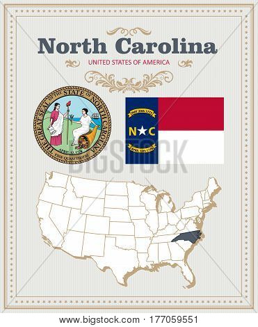 High detailed vector set with flag, coat of arms, map of North Carolina. American poster. Greeting card from United States of America. Colorful design