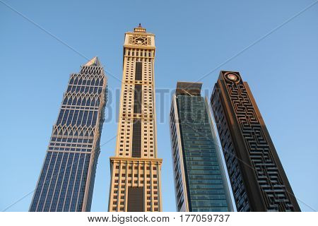 Beautiful skyscrapers in Dubai with an interesting architecutural desin.