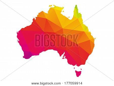 Colorful polygonal map of Australie geometry cartographic illustration isolated on white