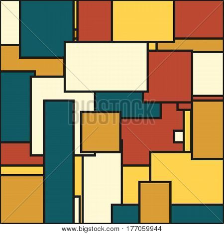 Abstract background in solid muted colors of yellow tan blue and dark orange (brick color)