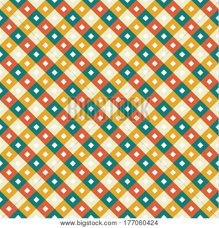 Seamless swatch - square or rhombus ornaments in diagonal way and retro muted colors - blue orange brick and tan colors with white squares in center of each one