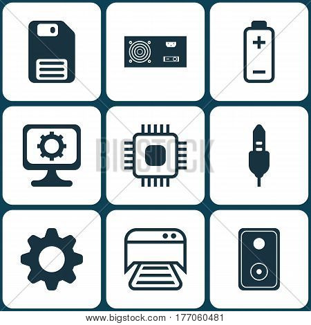 Set Of 9 Computer Hardware Icons. Includes Power Generator, Printed Document, Audio Device And Other Symbols. Beautiful Design Elements.