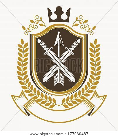 Vintage emblem decorated with crown and armory and created in vector heraldic design.