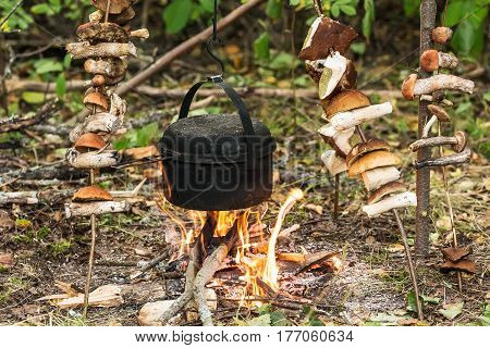 pot on the fire and drying mushrooms