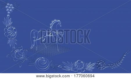 Rich purple blue background with folk patterns can be used in the design textile printing industry in a variety of design projects.