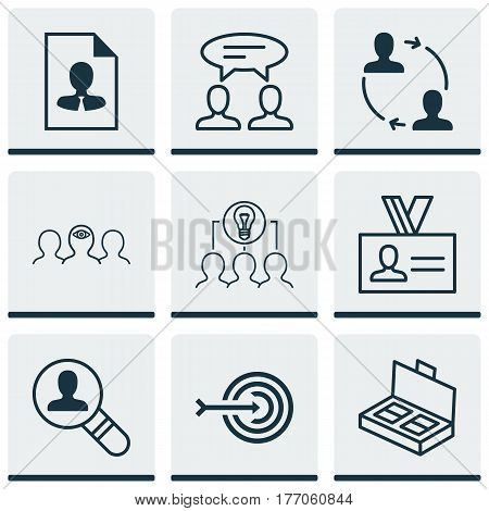 Set Of 9 Business Management Icons. Includes Open Vacancy, Dialogue, Coaching And Other Symbols. Beautiful Design Elements.