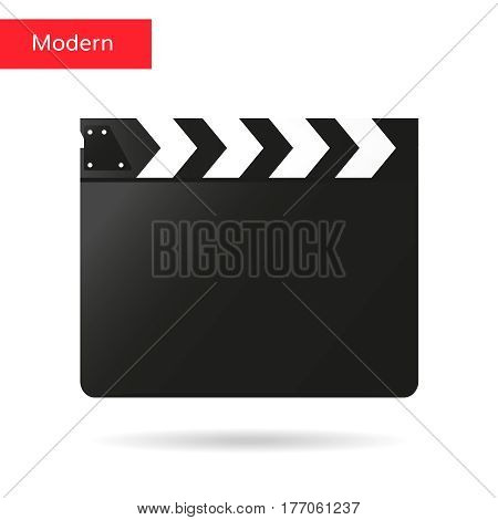Black open clapperboard. Realistic vector illustration. Movie clapper board.