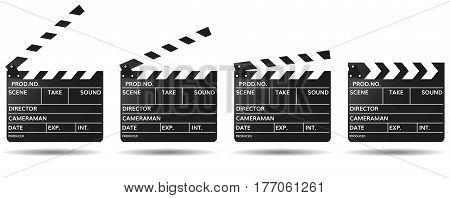 movie clapper boards isolated on white background. Mockup clapperboard. Vector illustration