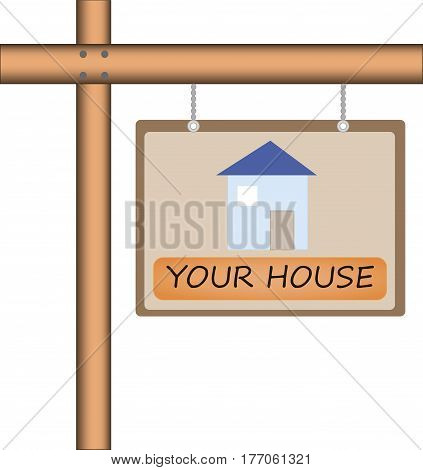 Vector illustration of wooden pointer for house