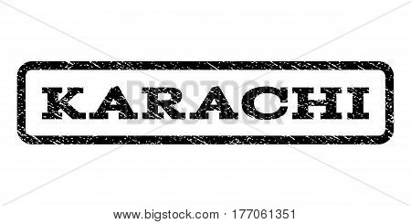 Karachi watermark stamp. Text tag inside rounded rectangle frame with grunge design style. Rubber seal stamp with unclean texture. Vector black ink imprint on a white background.