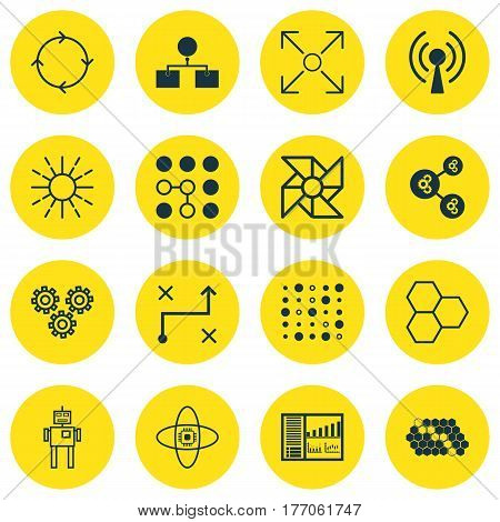 Set Of 16 Artificial Intelligence Icons. Includes Lightness Mode, Algorithm Illustration, Analysis Diagram And Other Symbols. Beautiful Design Elements.